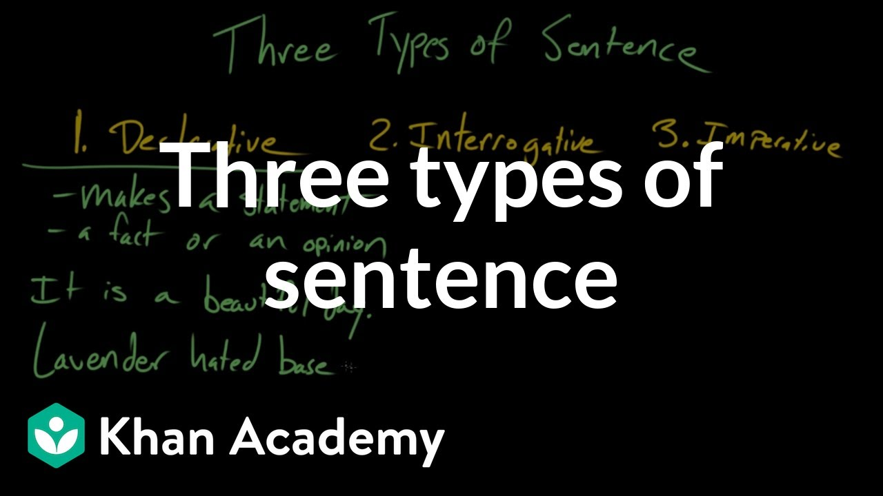 Three types of sentence (video) | Khan Academy
