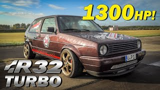 1300HP VW Golf Mk2 with R32 Turbo Engine \u0026 4WD! INSANE ACCELERATION 1/2 Mile Dragrace