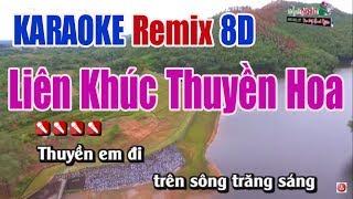 Liên Khúc Karaoke Thuyền Hoa Remix   Âm Thanh 8D - Nhạc Sống Thanh Ngân