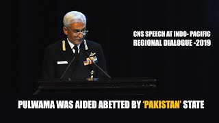 CNS Admiral Sunil Lamba's Address At Indo- Pacific Regional Dialogue- 2019