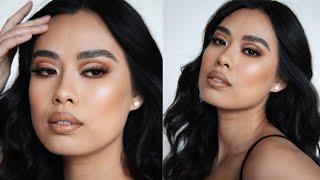 Brown Half Cut Crease Bronze Glam MakeUp Tutorial   Jvongphoumy