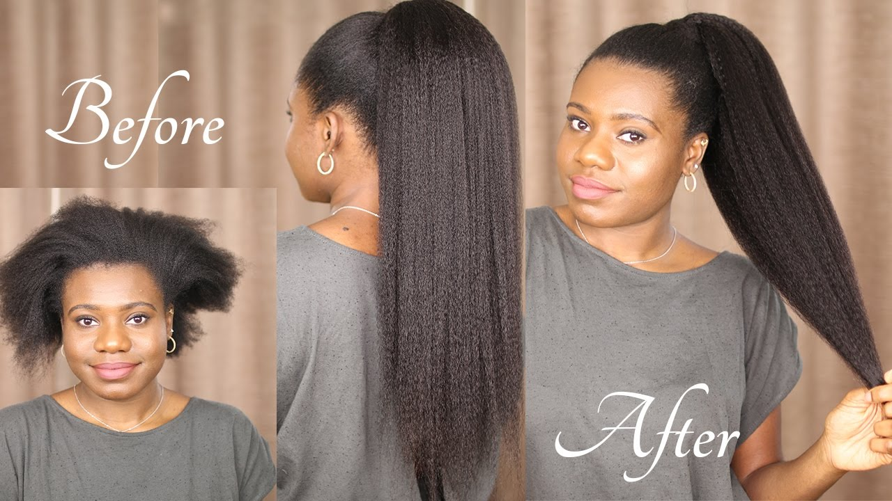 natural hair ponytail with weave/extensions - sleek ponytail