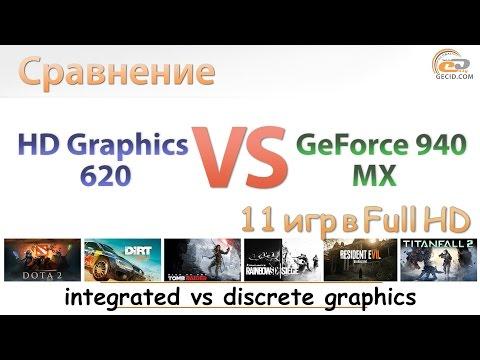 Intel HD Graphics 620 vs NVIDIA GeForce 940MX: сравнение графики в ноутбуке
