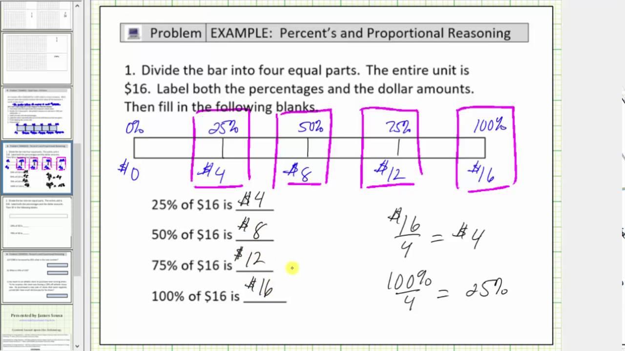 solve basic percent problems using a tape diagram bar diagram  [ 1280 x 720 Pixel ]