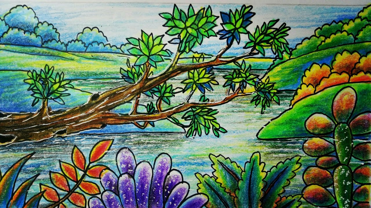 Menggambar Dan Mewarnai Pemandangan Sungai Dan Pohon Tumbang Dengan Crayon Pen