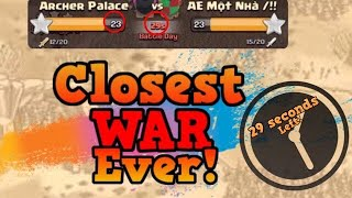 29 SECONDS LEFT!   Clash Of Clans - Most Intense War Ever (LIVE ATTACKS!)