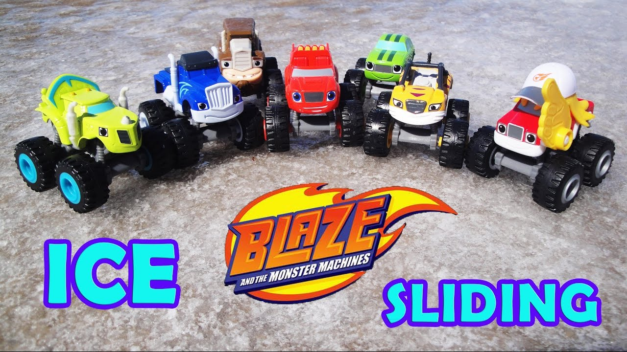 BLAZE AND THE MONSTER MACHINES Toys! Nick Jr ICE SLIDING ...