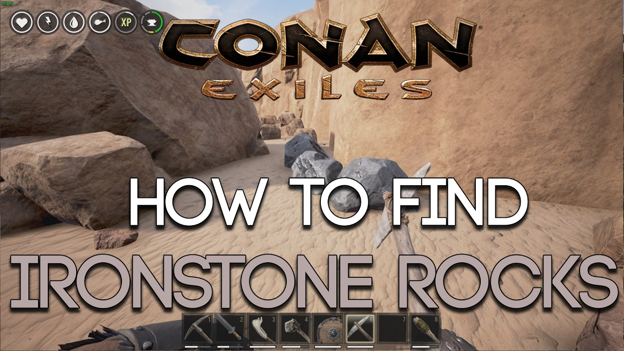 conan exiles how to find ironstone rocks youtube