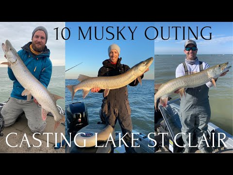 Musky Fishing Lake St Clair... 10 Musky Outing!
