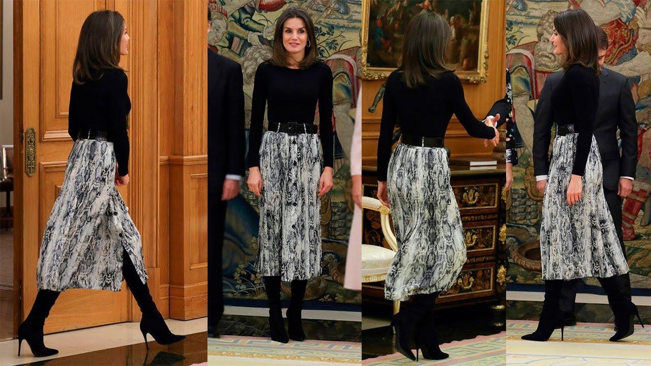 comprar original nuevo alto Cantidad limitada REINA LETIZIA ORTIZ estrena falda de estampado animal print de ZARA
