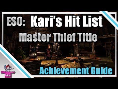 ESO: Kari's Hit List - Master Thief Title - Achievement Guide