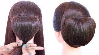 chignon hairstyle trick with using clutcher    elegant updo hairstyle    chignon bun    chinese bun