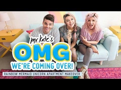 Rainbow Mermaid Unicorn Apartment Makeover! | Jessie Paege x Mr. Kate | OMG We're Coming Over