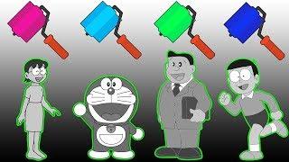 Paint Doraemon in Hindi trolls Nobita Nobi Nobisuke Tamako Finger Family Song Nursery Rhymes