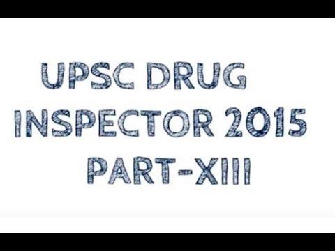 UPSC DRUG INSPECTOR 2015 PART XIII