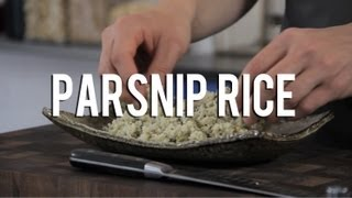 "Raw food parsnip ""rice"" recipe"
