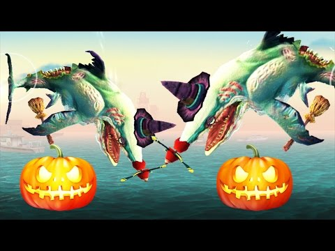 Hungry Shark World - Starving Zombie Shark Trick Or Treat!!