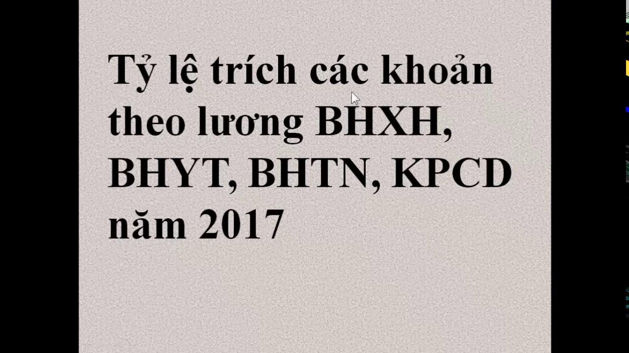 Tỷ lệ trích năm 2017 của các khoản theo lương BHXH, BHYT, BHTN, KPCD