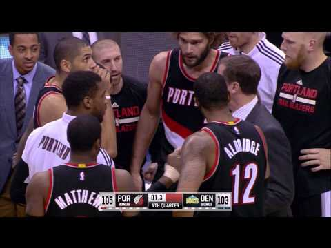 Robin Lopez game-winner on pass from LaMarcus Aldridge: Blazers at Nuggets