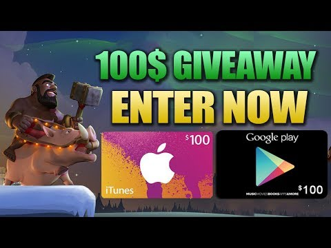 100$ GIVEAWAY + HOW TO GET FREE ITUNES & GOOGLE PLAY GIFT CARDS!!! FREE GEMS IN CLASH OF CLANS (COC)