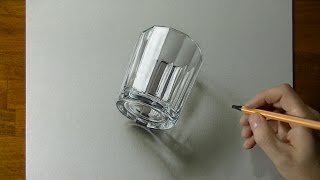 Drawing of a glass - How to draw 3D Art