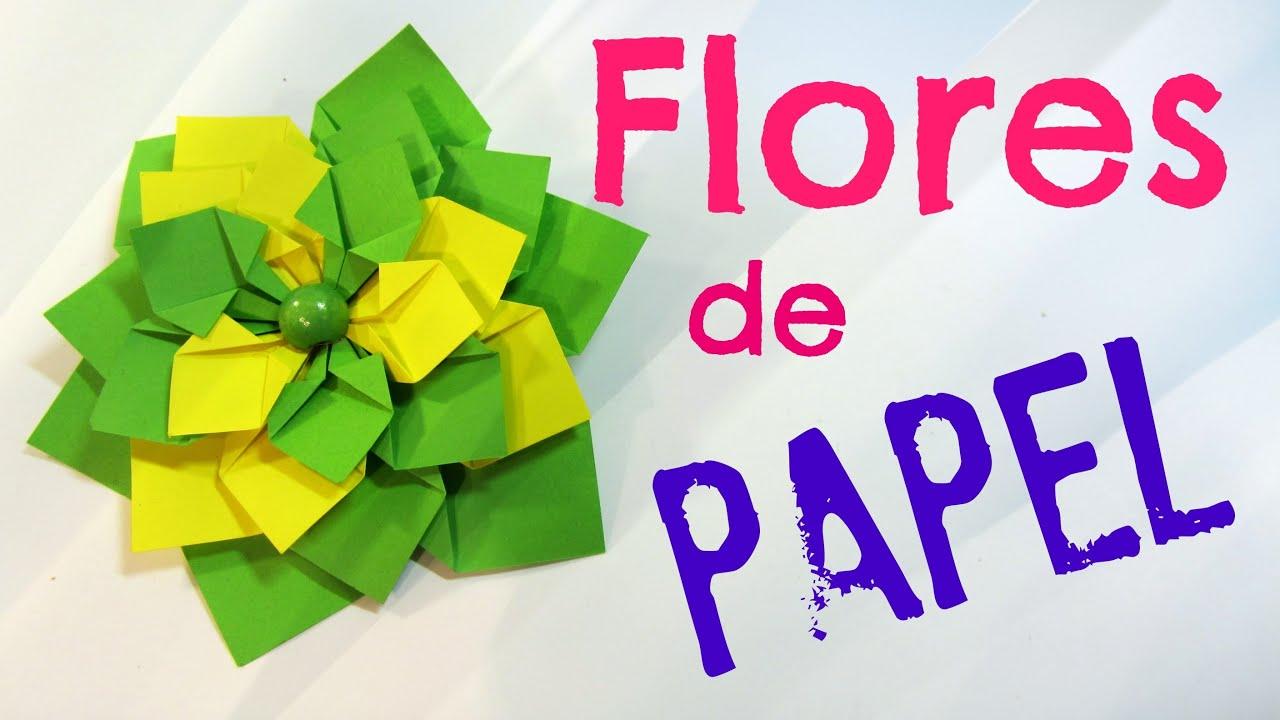 C mo hacer flores de papel paper flowers youtube - Papel para decorar ...