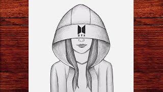 BTS Şapkalı Kolay Kız Çizimi - Güzel Bir Kız Nasıl Çizilir - Çizim Mektebi Karakalem Çizimleri 2021