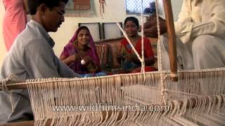 Hand loom weaving in Uttar Pradesh, India