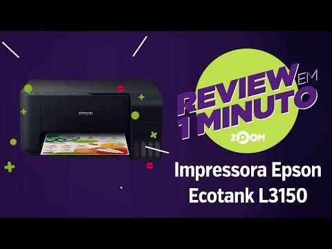 Impressora Multifuncional Epson Ecotank L3150 - Análise | REVIEW EM 1 MINUTO - ZOOM