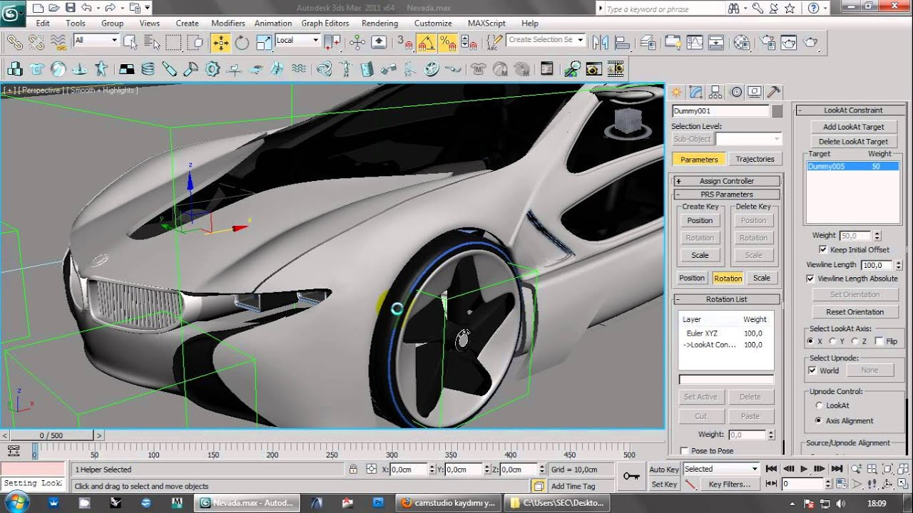 3ds Max Car Animation With Wheel Direction No Plugin Or Script