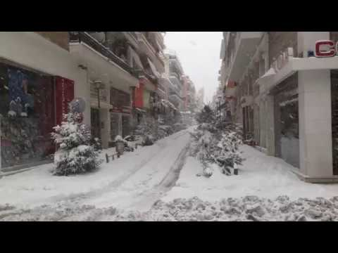 Snow in Volos 2014 - Center of Volos
