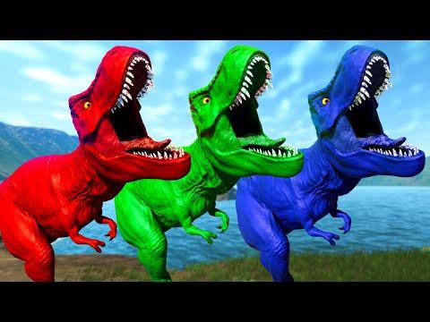 TYRANNOSAURUS REX COLOR PACK VS HERBIVOROUS DINOSAURS   JURASSIC WORLD EVOLUTION DİNOSAURS FİGHT !  