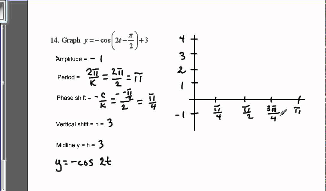 Graph a trig function with phase and vertical shift YouTube – Graphing Trig Functions Worksheet