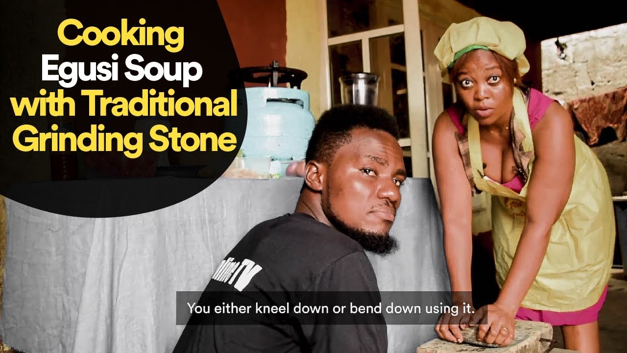 Download Cooking Egusi Soup with Traditional Grinding Stone
