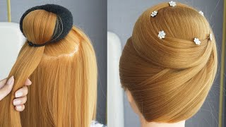 New Juda Hairstyle With Gown Hairstyles For Medium Hair Easy Bun Wedding Hairstyles Tutorial