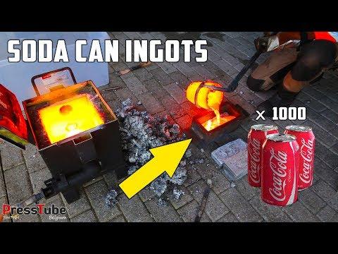Shredding & Melting 1000 Coca Cola Soda Cans Into Huge Aluminium Ingots