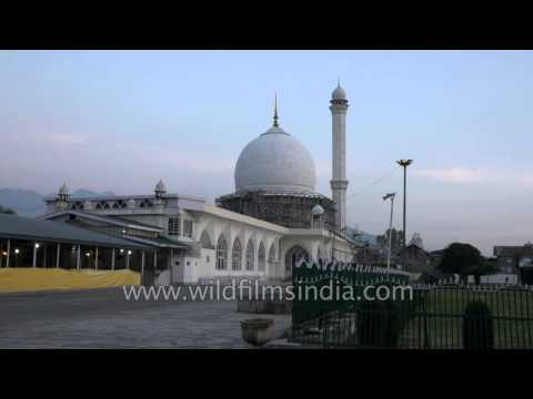 The Hazratbal Mosque in Srinagar, Kashmir