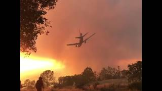 Air Tankers Drop Retardant as Smoke From Detwiler Fire Blots Out the Sky
