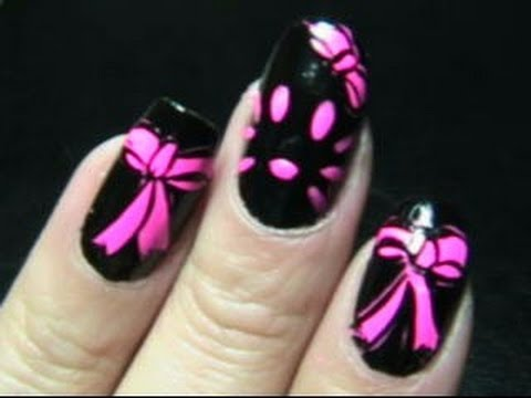 hello kitty nails hot pink amp black request youtube
