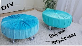DIY footstool with Recycled items. Luxurious Upholstered furniture for cheap
