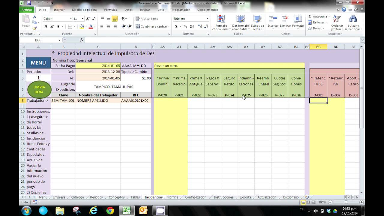 Manual de operaci n plantilla excel n mina youtube for Nomina en excel xls