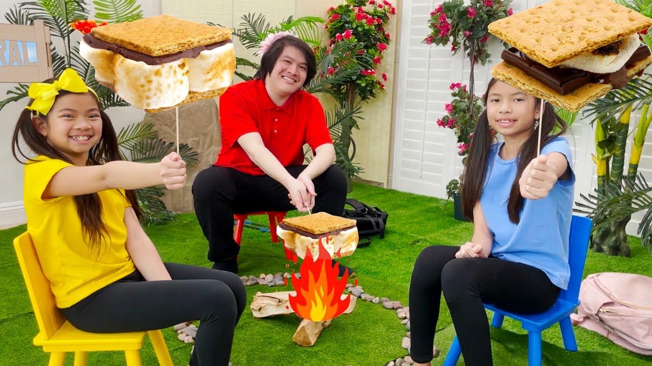 Emma and Wendy Pretend Play Camping with Spongebob Kamp Koral Original Series for Kids