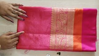 Banarasi silk saree blouse back neck design cutting and stitching ...