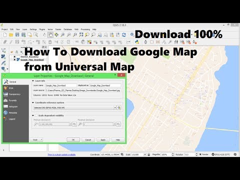 How to download google map from universal map download | Define project from QGIS