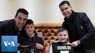 Cristiano Ronaldo Meets Young Albanian Earthquake Victims