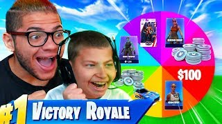 1 Kill = 1 FREE SPIN For JAYDEN! (TOYS V BUCKS WWE $ And CHALLENGES!) FORTNITE SPIN THE WHEEL OMG!!