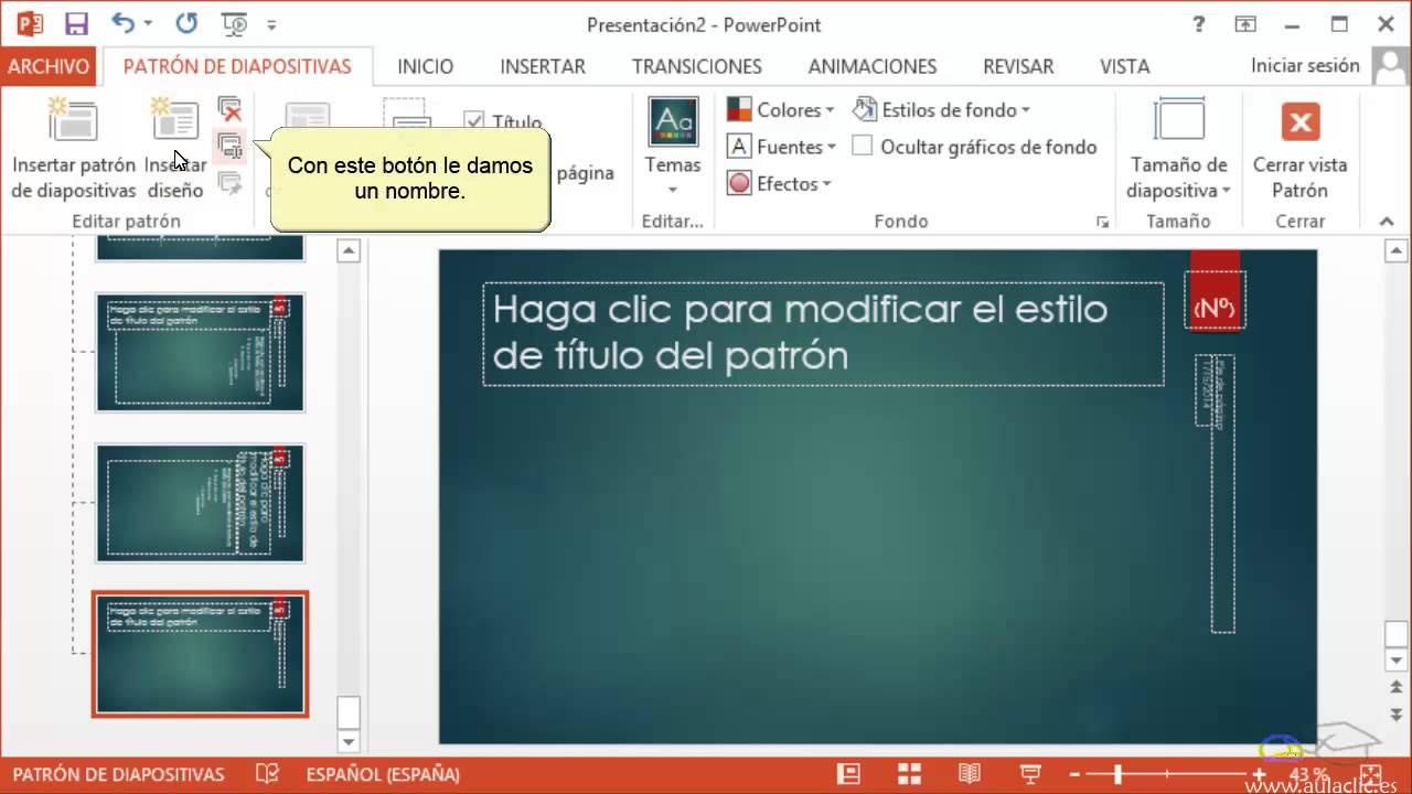 curso de powerpoint 2013  5  definir un patr u00f3n de