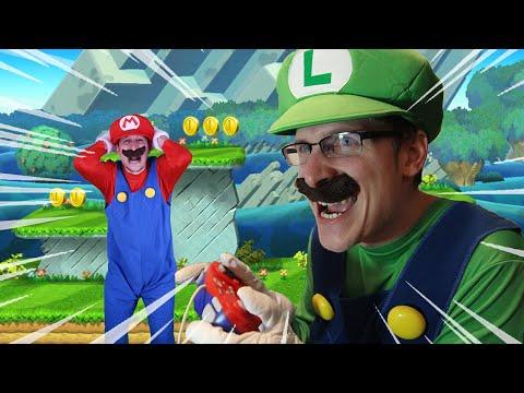 Luigi Controls Mario IN REAL LIFE - Super Mario Bros level