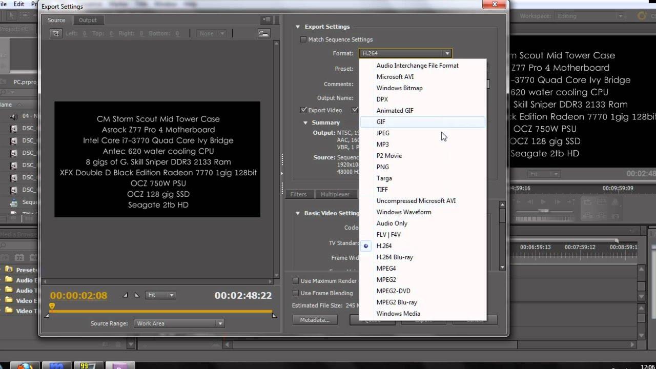 adobe premier cs5 exporting at 1080p for youtube tutorial