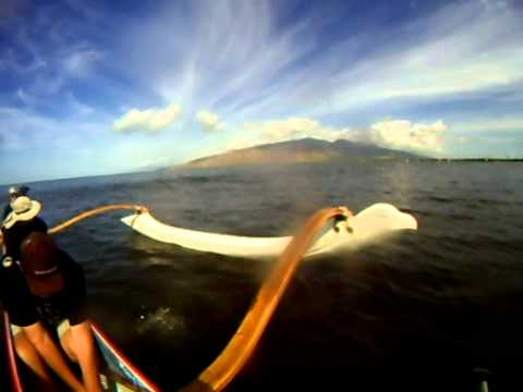 Canoe surfing with Maui Canoe Club
